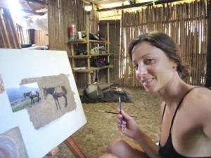 Lindsay Seligman painting in Peru