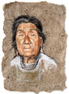 Abuela en el Castillo de Lamas, A4, Amazon Earth Pigment on Banana Paper, 2012.    SOLD