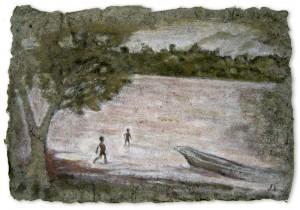 El Rio Huallaga, Chazuta, A3, Amazon Earth Pigment on Banana Paper, 2012.    SOLD