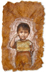 Niño Curioso, A5, Amazon Earth Pigment on Banana Paper, 2012.   SOLD